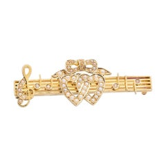 15 Carat Yellow Gold Two Heart White Seed Pearl Antique Victorian Bar Brooch