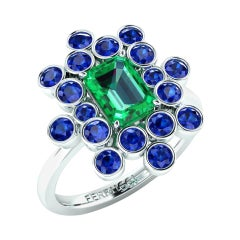 1.69 Ct GIA Certified Colombian Emerald and Blue Sapphires Cluster Platinum Ring