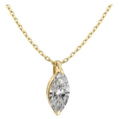 1.5 Ct Marquise Cut Diamond Pendant F Color S1 Clarity 14k Yellow Gold Necklace
