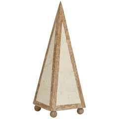 15 in. Tall Decorative Tessellated Stone Pyramid, 1990s