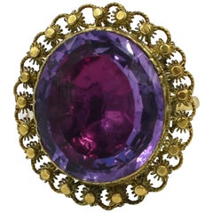 Georgian Amethyst Cannetille Ring, circa 1840