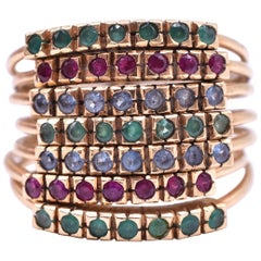 15 Karat Gold Emerald, Diamond and Sapphire Harem Ring