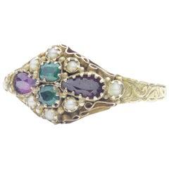 15 Karat Gold, Garnet, Green Paste and Seed Pearl Ring