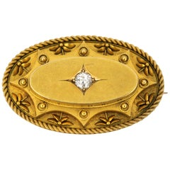 15 Karat Gold, Victorian Mourning Brooch or Pendant, 0.40 Carat Diamond