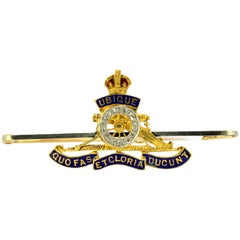 15 Karat Gold- WWI Royal Artillery and Engineers Brooch with Diamonds