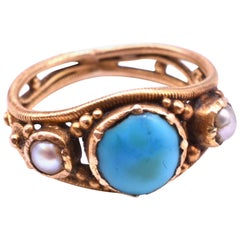 15 Karat Turquoise and Pearl Baby Ring, circa 1860