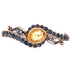 15 Karat Victorian Bangle Bracelet with Sapphires, Citrine and Diamonds 22.1g