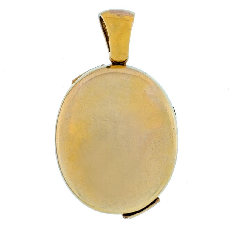 Women's or Men's 15 Karat Yellow Gold and Blue Enamel and Pearl Locket For Sale