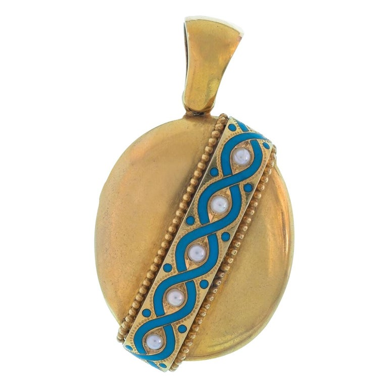 15 Karat Yellow Gold and Blue Enamel and Pearl Locket For Sale