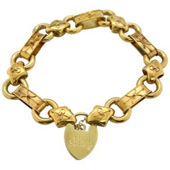 15 Karat Yellow Gold Antique Heart Padlock Bracelet