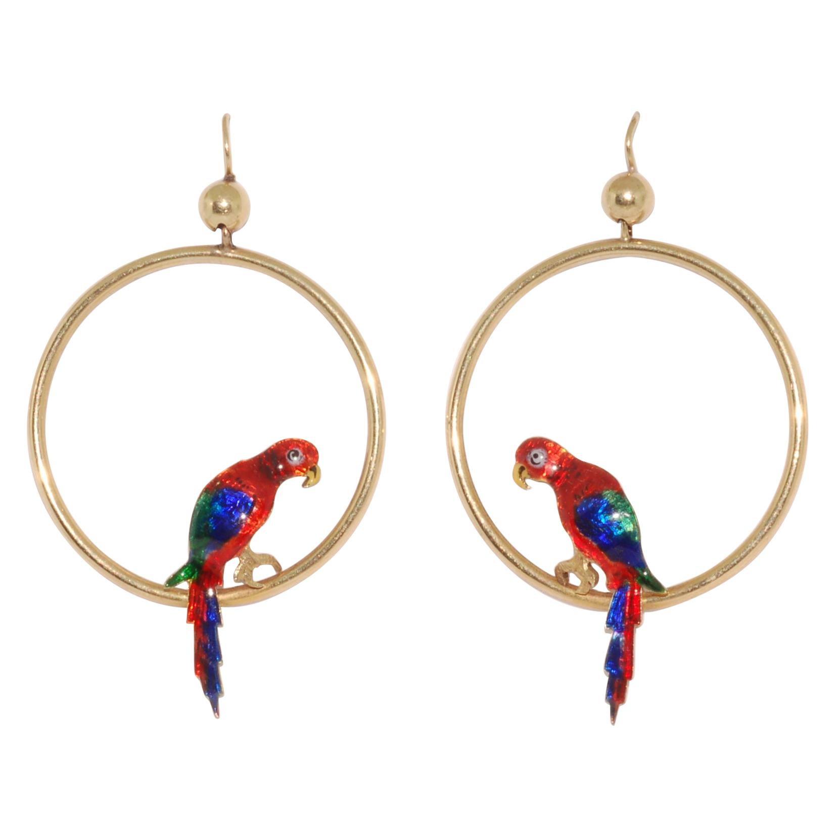15 Karat Yellow Gold Enamel Parrot Hoop Earrings, circa 1920s