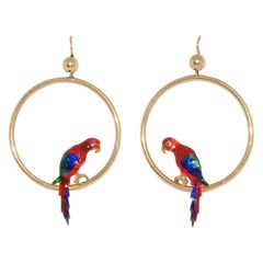 15 Karat Yellow Gold Enamel Parrot Hoop Earrings, circa 1920s