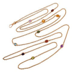15 Karat Yellow Gold Long Chain with Spectacle Set Mixed Gemstones