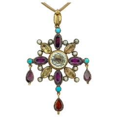 15 Karat Yellow Gold Multi Gem Pendant