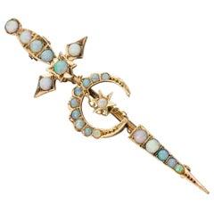 15 Karat Yellow Gold Opal Sword Brooch