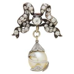 15 Karat Yellow Gold, Silver, Natural Pearl, and Diamond Brooch Pendant
