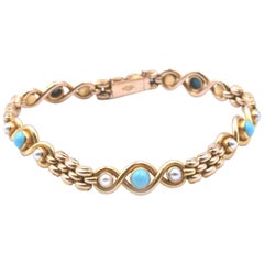 15 Karat Yellow Gold Turquoise and Pearl Bracelet
