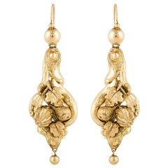 15 Karat Yellow Gold Victorian Earrings