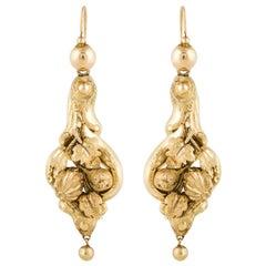 Georgian/Victorian Drop Earrings in 15K Gold
