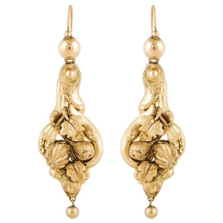 15 Karat Yellow Gold Victorian Earrings For Sale