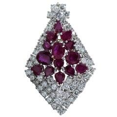 15 Oval Ruby Diamond Pendant 5-6 Carat