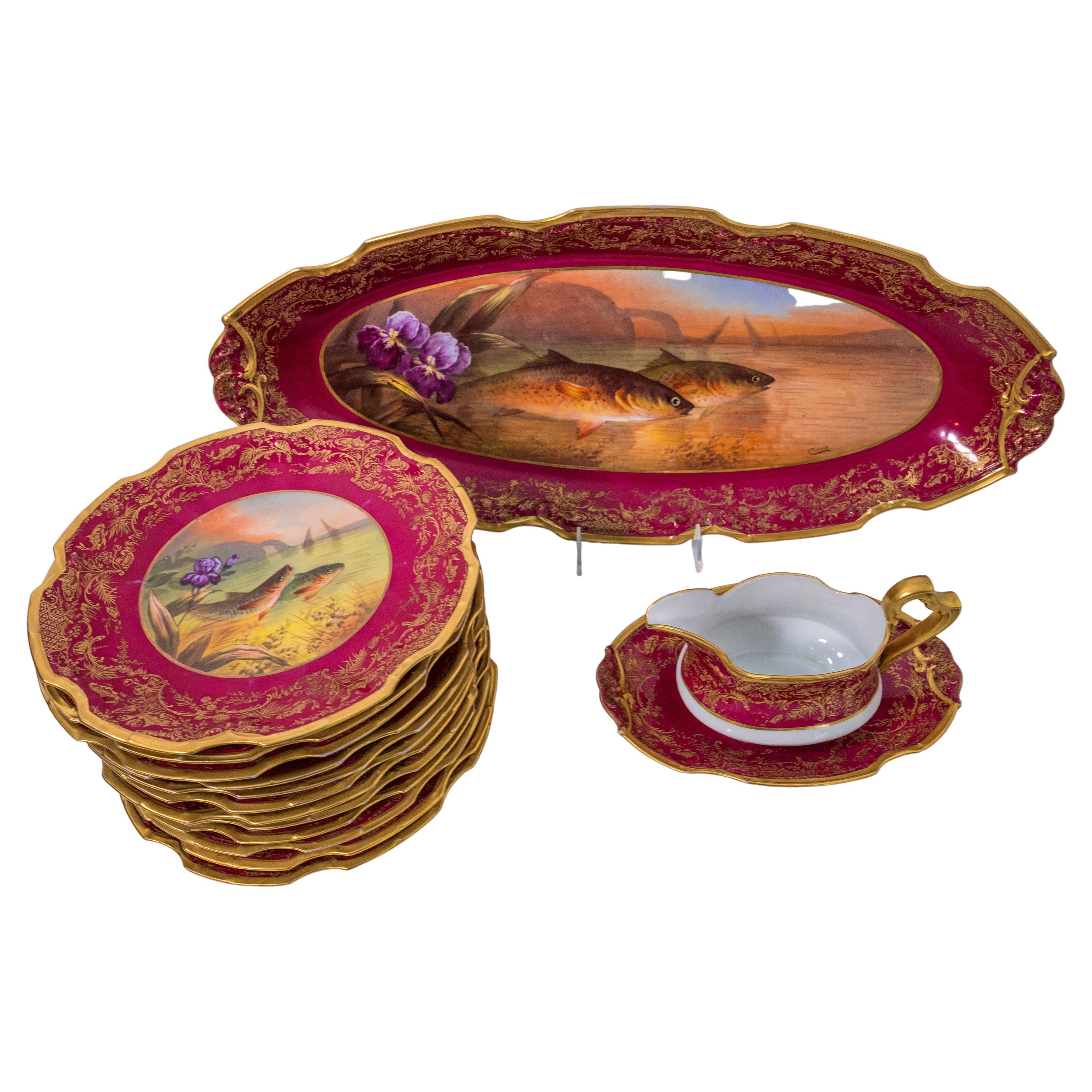 15 Piece Fish Set with Platter, Sauce Boat & 12 Plates, Antique Limoges Ruby