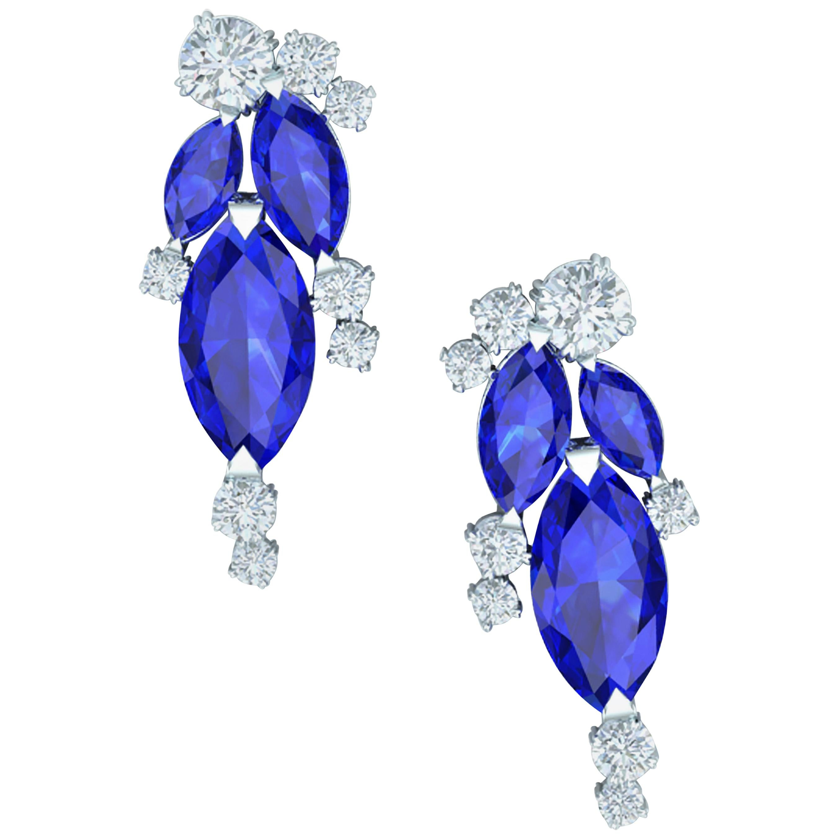 1.5 Sapphire and Diamond Cluster Drop Earrings White Gold