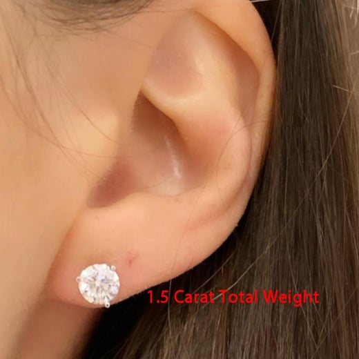 1 5 Total Carat Weight Rx Diamond Earring Studs White Gold Ben Dannie