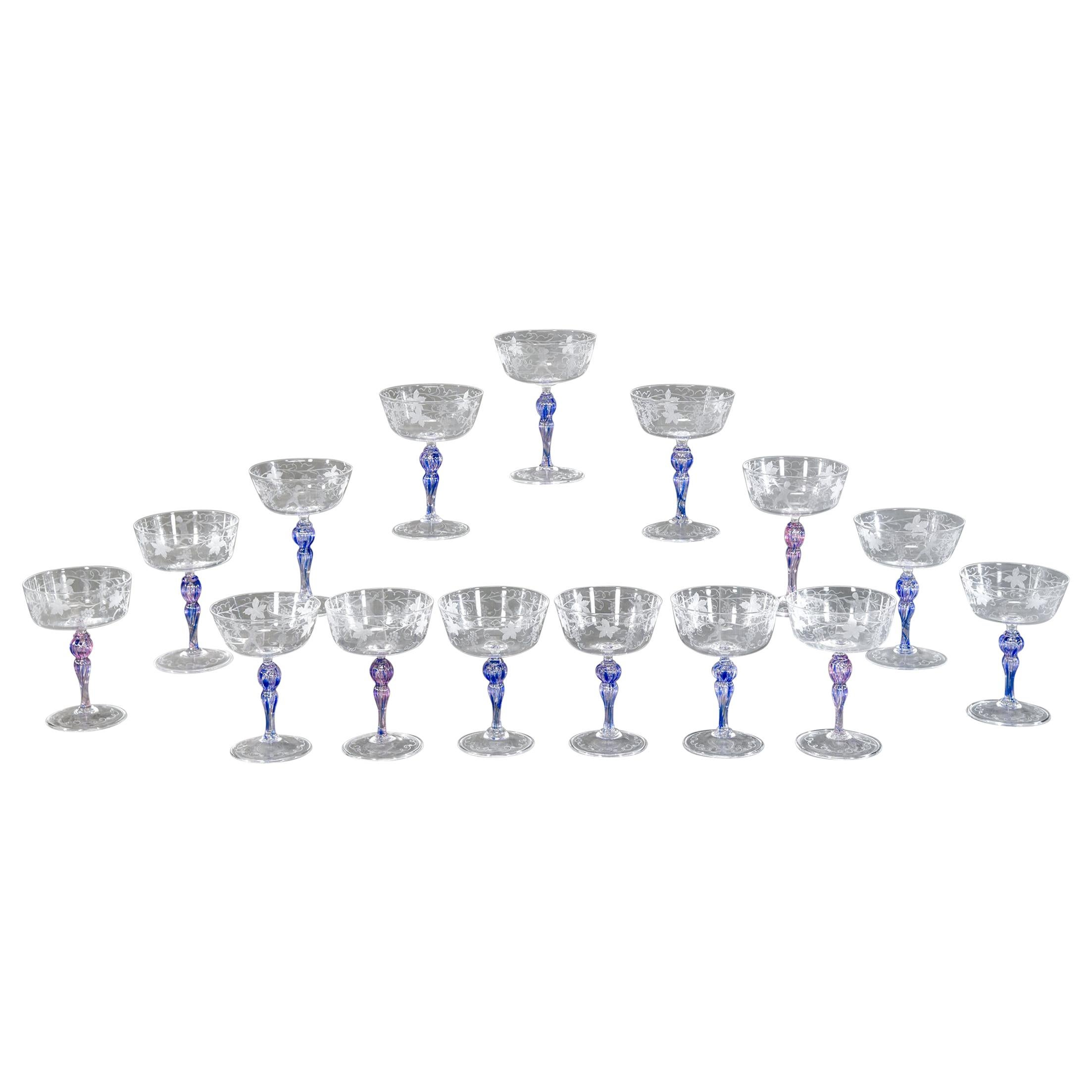 15 Venetian Bacchus and Grape Vine Engraved Champagne Coupes with Purple Stems