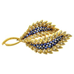 1.50 Carat 18 Karat Gold Sapphire Diamond Double Leaf Brooch