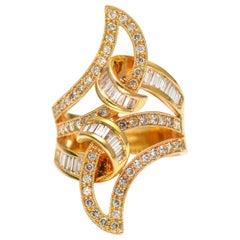 1.50 Carat 18 Karat Rose Gold Elongated Swirl Diamond Fashion Ring