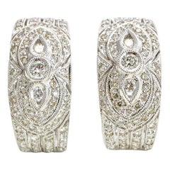 1.50 Carat 18 Karat White Gold Diamond Half Hoop Oval Earrings