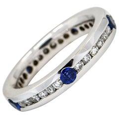 1.50 Carat 18 Karat White Gold Diamond Sapphire Eternity Band Ring