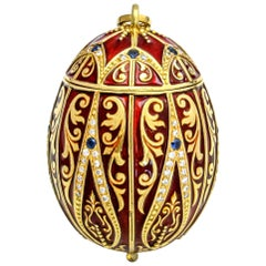 1.50 Carat 18 Karat Yellow Gold Diamond Sapphire Egg Pill Box Pendant