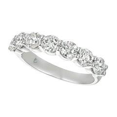 1.50 Carat 7 Stone Natural Diamond Ring Band G SI 14K White Gold