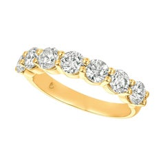 1.50 Carat 7 Stone Natural Diamond Ring Band G SI 14k Yellow Gold