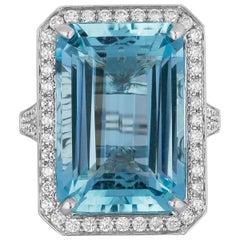 15.0 Carat Aquamarine Diamond Cocktail Ring