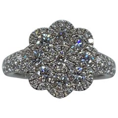 1.50 Carat Art Nouveau E VS Diamond Cluster Flower Ring 18K White Gold Pavé Set