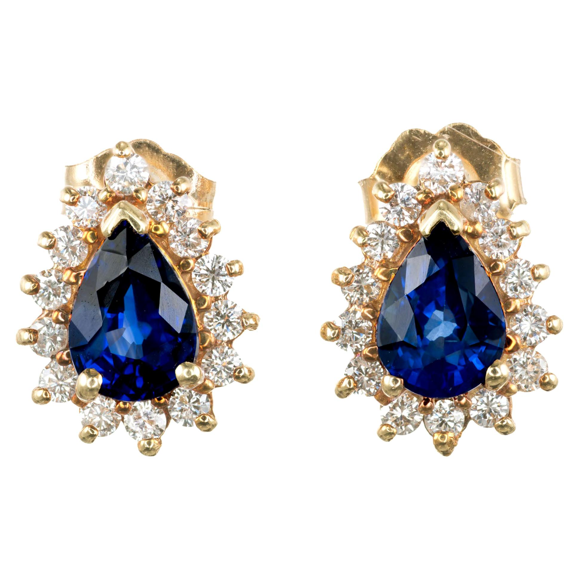 1.50 Carat Blue Pear Sapphire Diamond Halo Earrings