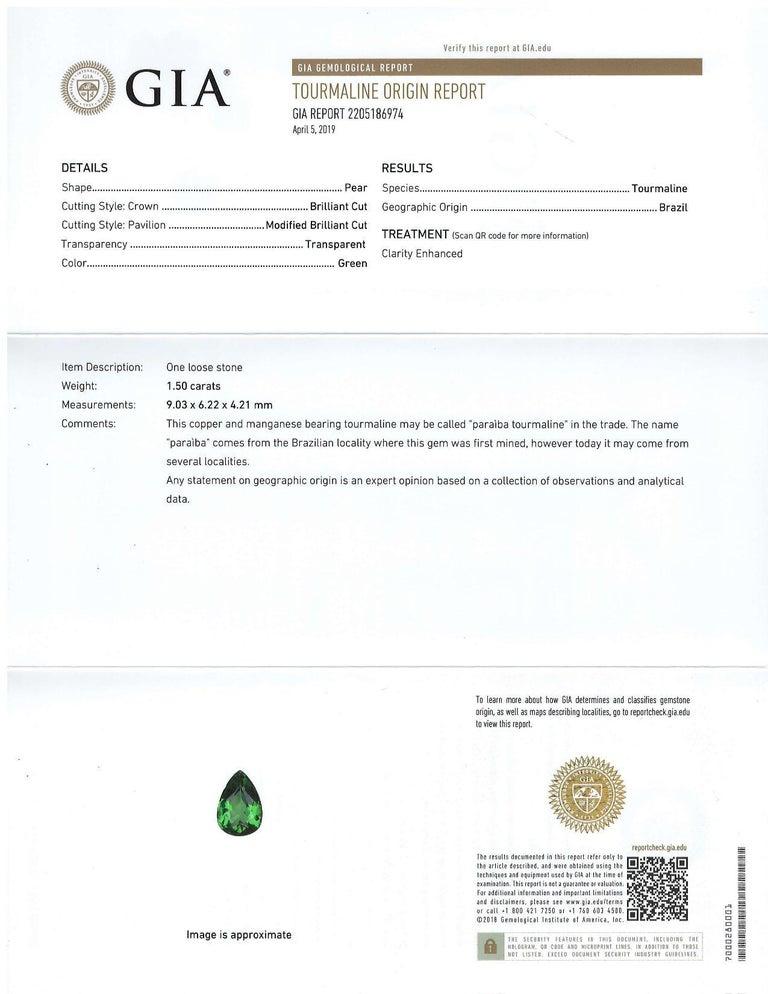 Artisan 1.50 Carat Brazilian Pariaba Tourmaline GIA Certified Loose Stone For Sale