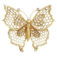 1.50 Carat Butterfly Diamond Gold Brooch