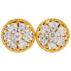 1.50 Carat Byzanite Deco Pattern Circular Starburst Clip Earrings 18 Karat