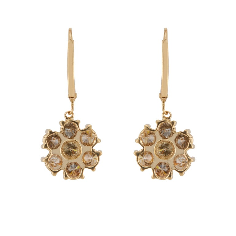 Round Cut 1.50 Carat Champagne Diamond Gold Flower Dangle Earrings For Sale