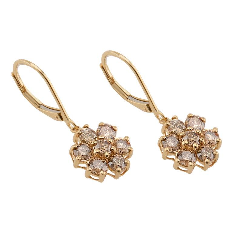 Men's 1.50 Carat Champagne Diamond Gold Flower Dangle Earrings For Sale