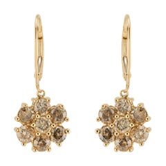 1.50 Carat Champagne Diamond Gold Flower Dangle Earrings