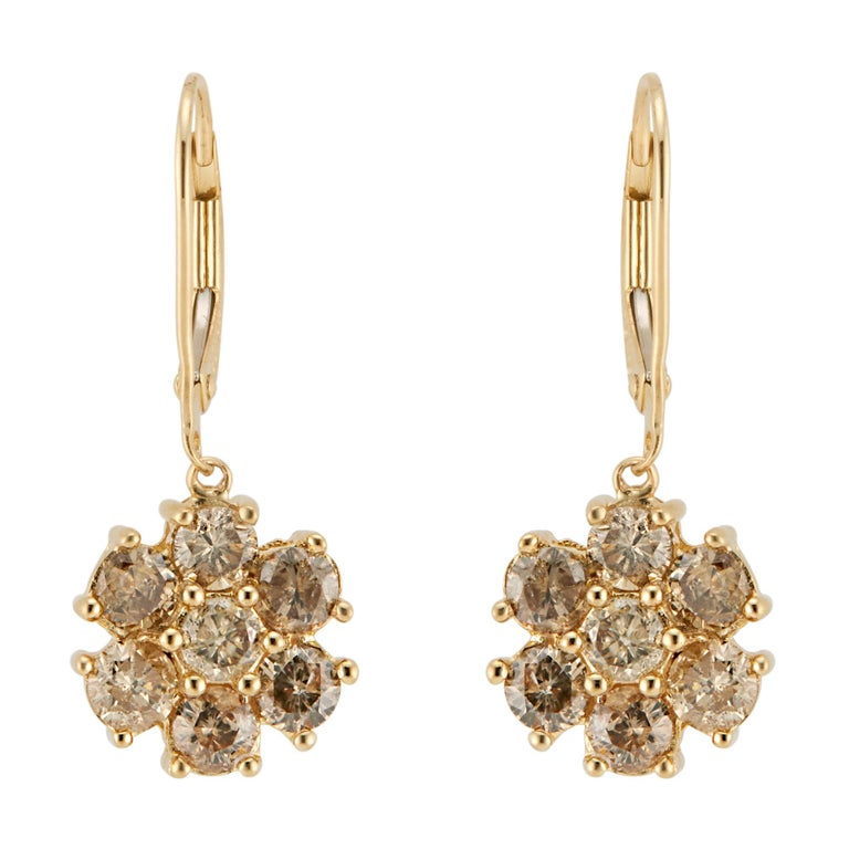 1.50 Carat Champagne Diamond Gold Flower Dangle Earrings For Sale