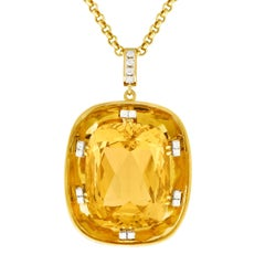 150 Carat Citrine and Diamond Set Gold Pendant