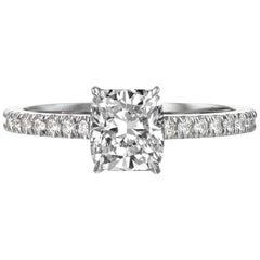 1.50 Carat Cushion Cut Engagement Ring on 18 Karat White Gold
