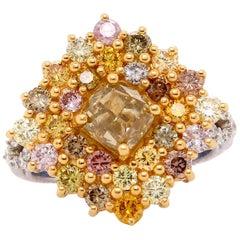 1.50 Carat Cushion Cut Yellow and Multi-Color Diamond Ring