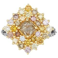 1.50 Carat Cushion Yellow and Multi-Color Diamond Ring 18 Karat Two-Tone Gold